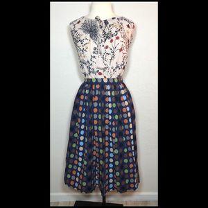 Vintage inspired polka dot midi skirt